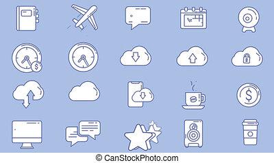 professions, ensemble, lieu travail, icône, créatif