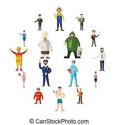 professions, icônes, ensemble, dessin animé, style