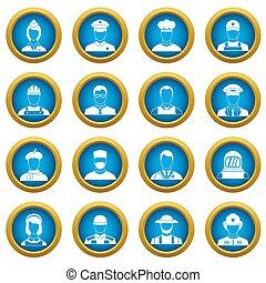 Professions icons blue circle set