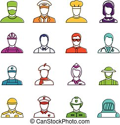 Professions icons doodle set