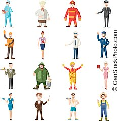 Professions icons set, cartoon style