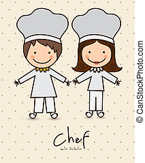 Professions - Illustration of professions, icons of chef, ...