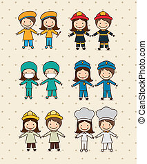 Illustration of professions, police icon, doctor, firefighter, chef, painter, engineer, vector illustration