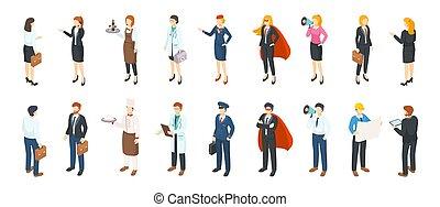 professions., isometric, uniformen, zakenkantoor, mensen, mannen, anders, plat, kostuums, characters., vector, professioneel, banen, vrouwen