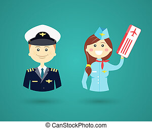 Vector cartoon character icons depicting different Professions with a smiling friendly male pilot and pretty female flight attendant in uniform