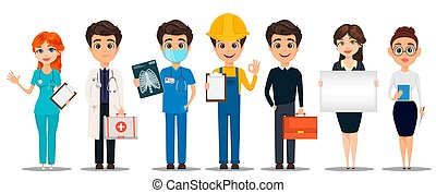 professions., satz, karikatur, characters.