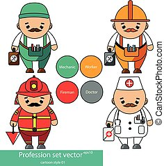 Professions set. Mechanic, worker, doctor, fireman characters in cartoon style. vector illustration