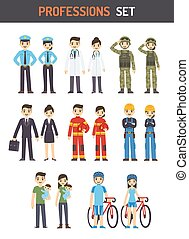 Professions - Set of men and women of different professions:...