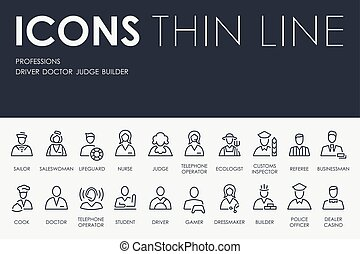 Professions Thin Line Icons - Thin Stroke Line Icons of...