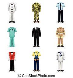 Professions uniforms icons vector set