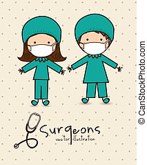 Professions - Illustration of professions, couple of doctor,...