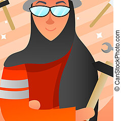 professionsen, begrepp, design, muslimsk, kvinnor