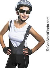 professonal, atleta, puro, sonrisa, hermoso, vetical, aislado, hembra, llevando, retrato, blanco, encima, brillante, sportswear., caucásico, bicicleta, tiro, fondo.