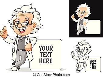 professor, óculos, tábua, vazio, inclinar-se