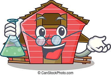 Professor a red barn house character cartoon