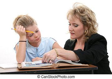 professor, ajudando, estudante, escrivaninha