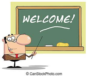 professor, apontar, bem-vindo