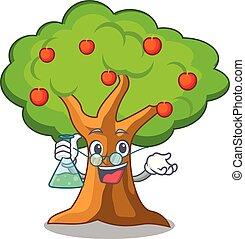 Professor apple tree full of isolated mascot vector...