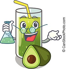 Professor avocado smoothie on wooden cartoon table vector...
