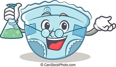Professor baby diaper character cartoon