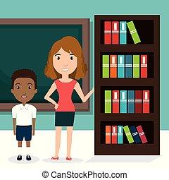 professor, biblioteca, chalkboard