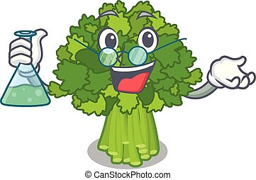 Professor brocoli rabe in the cartoon shape vector...
