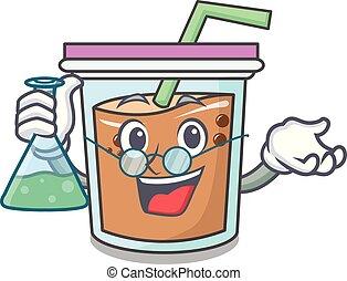 Professor bubble tea character cartoon