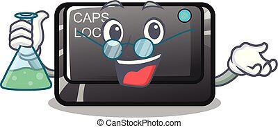 Professor capslock button in the shape character vector...