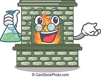 Professor cartoon a fireplace in the house