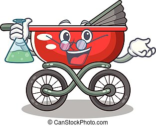 Professor cartoon baby stroller in the beach