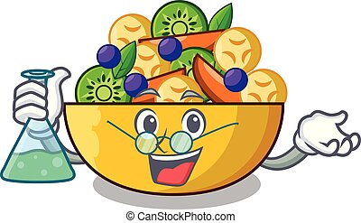 Professor cartoon bowl healthy fresh fruit salad