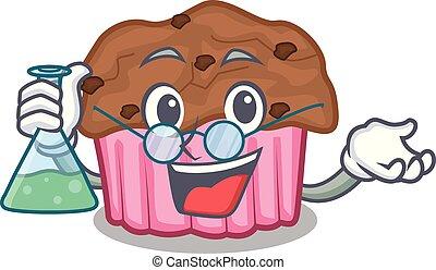 Professor cartoon chocolate muffins ready to eat vector...