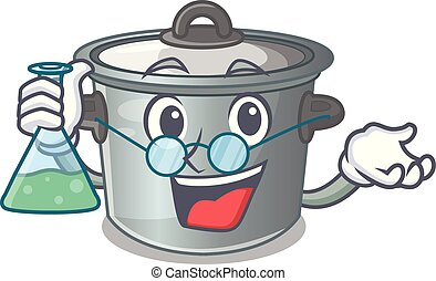 Professor cartoon cookware stock pot in kitchen vector...