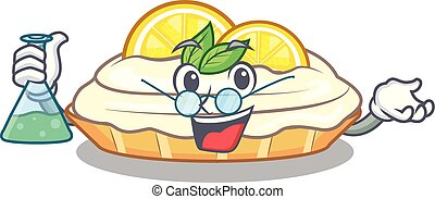 Professor cartoon lemon cake with lemon slice
