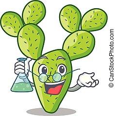 Professor cartoon opuntia cactus in the desert