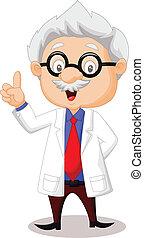 professor, cartoon, pege, hans, hånd