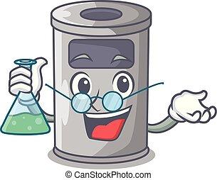 Professor cartoon steel trash can in the door