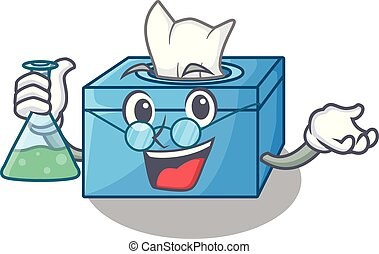 Professor cartoon tissue box in the restaurant