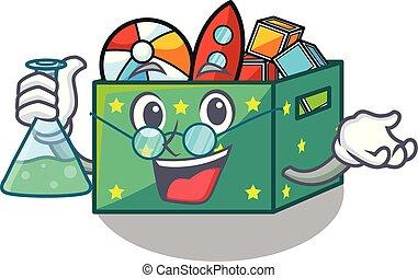 Professor cartoon toy boxes in a bedroom