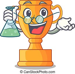 Professor cartoon trophy cup with star on cyan vector...