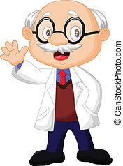 professor, cartoon, vink, hånd