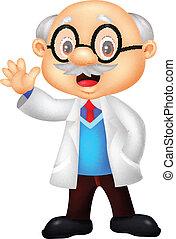 Professor cartoon waving hand