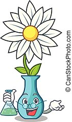 Professor character cartoon glass vase with flowers