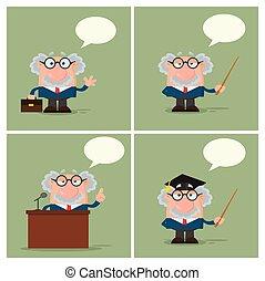 professor, character., -, cobrança, ou, cientista, 4, caricatura