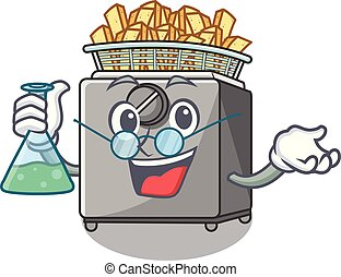 Professor character deep fryer on restaurant kitchen vector...