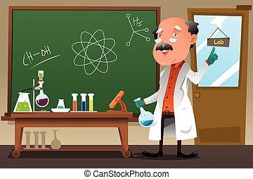 professor, chemie, labor, arbeitende