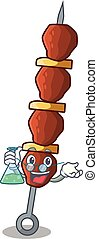 Professor chicken shish with pepper tomato cartoon