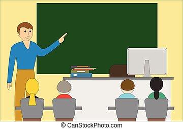 professor, children., sala aula, blackboard., educacional, concept.