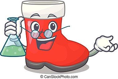 Professor christmas santa boot isolated on mascot vector...