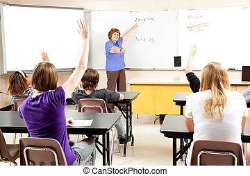 professor, classe escola, alto
